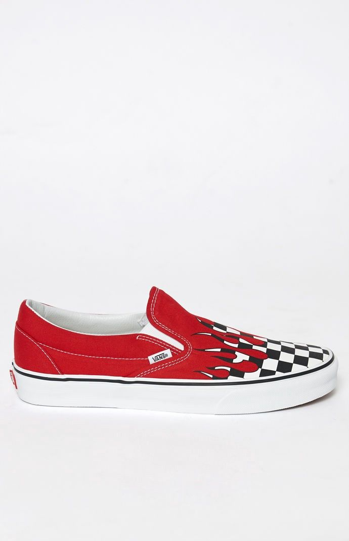 Vans Checker Flame Classic Slip-On Shoes - 10.5  569c1ec35