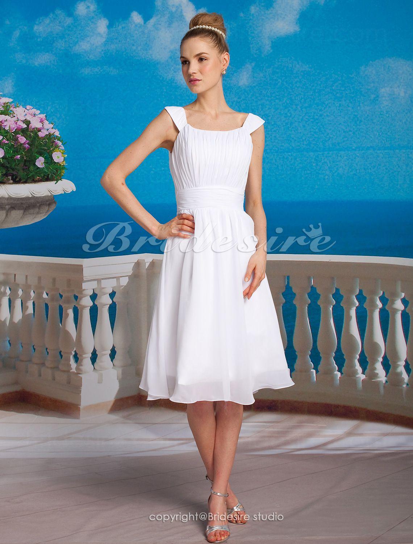 The Green Guide A Line Princess Chiffon Knee Length Square Wedding Dress