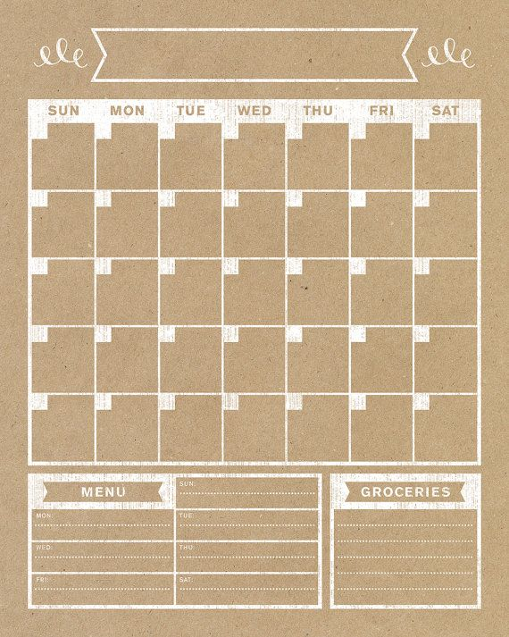 Calendar Vertical Family Planner Wall Blank Print