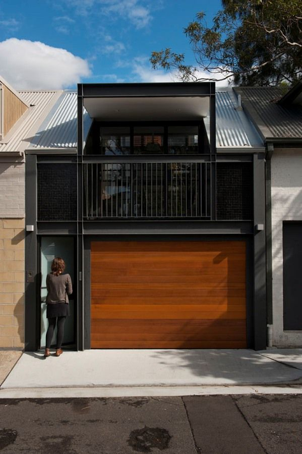 Turn a 1900 s terrace house into a contemporary oasis in sydney wood garage doors garage - Terraced modern homes with underlying garage ...