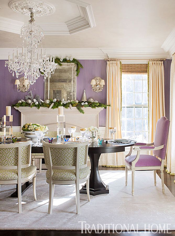 Happy Holidays In A Cheerful New England Home  Traditional Home Cool 2014 Dining Room Colors Review