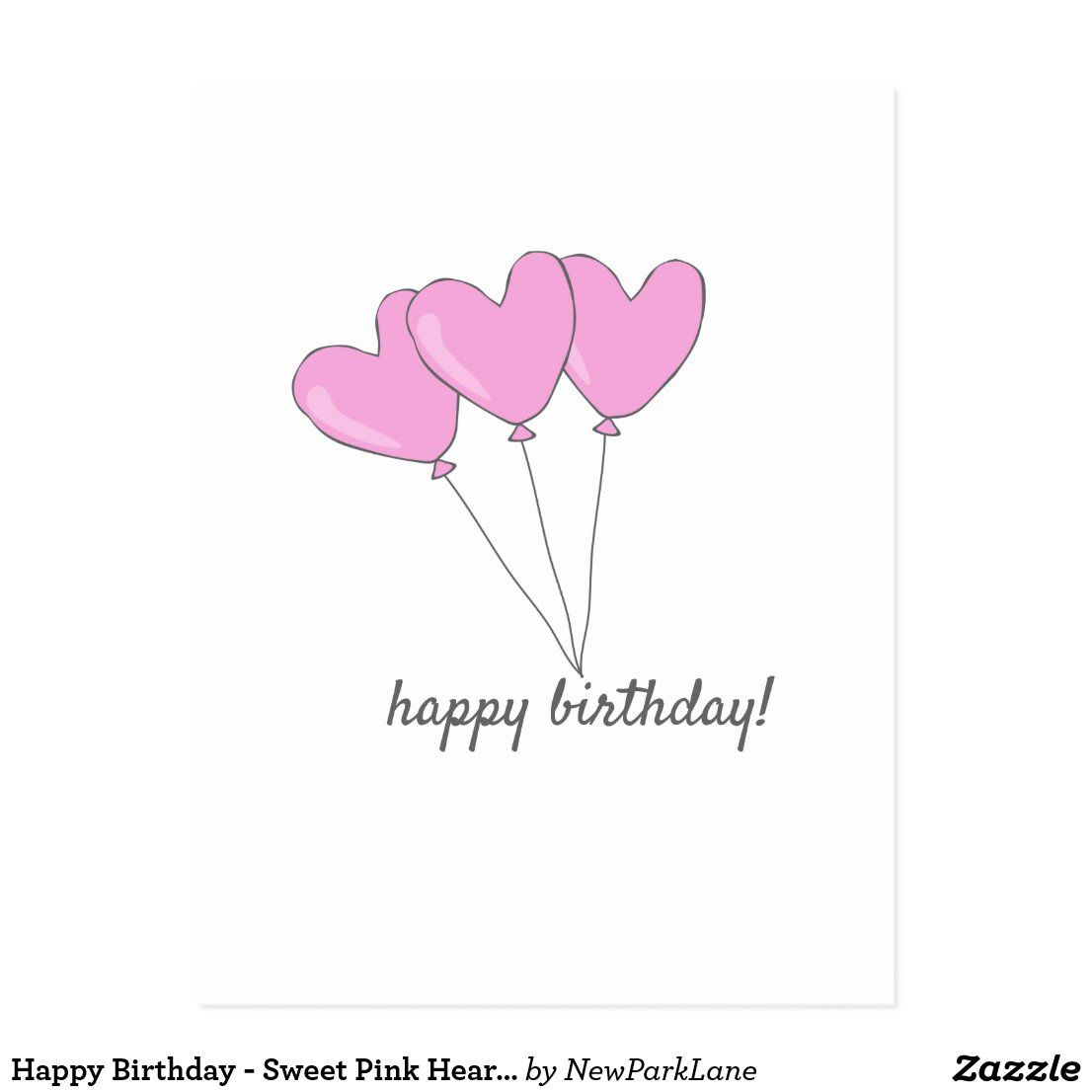 Happy Birthday – Sweet Pink Heart Shaped Balloons Postcard