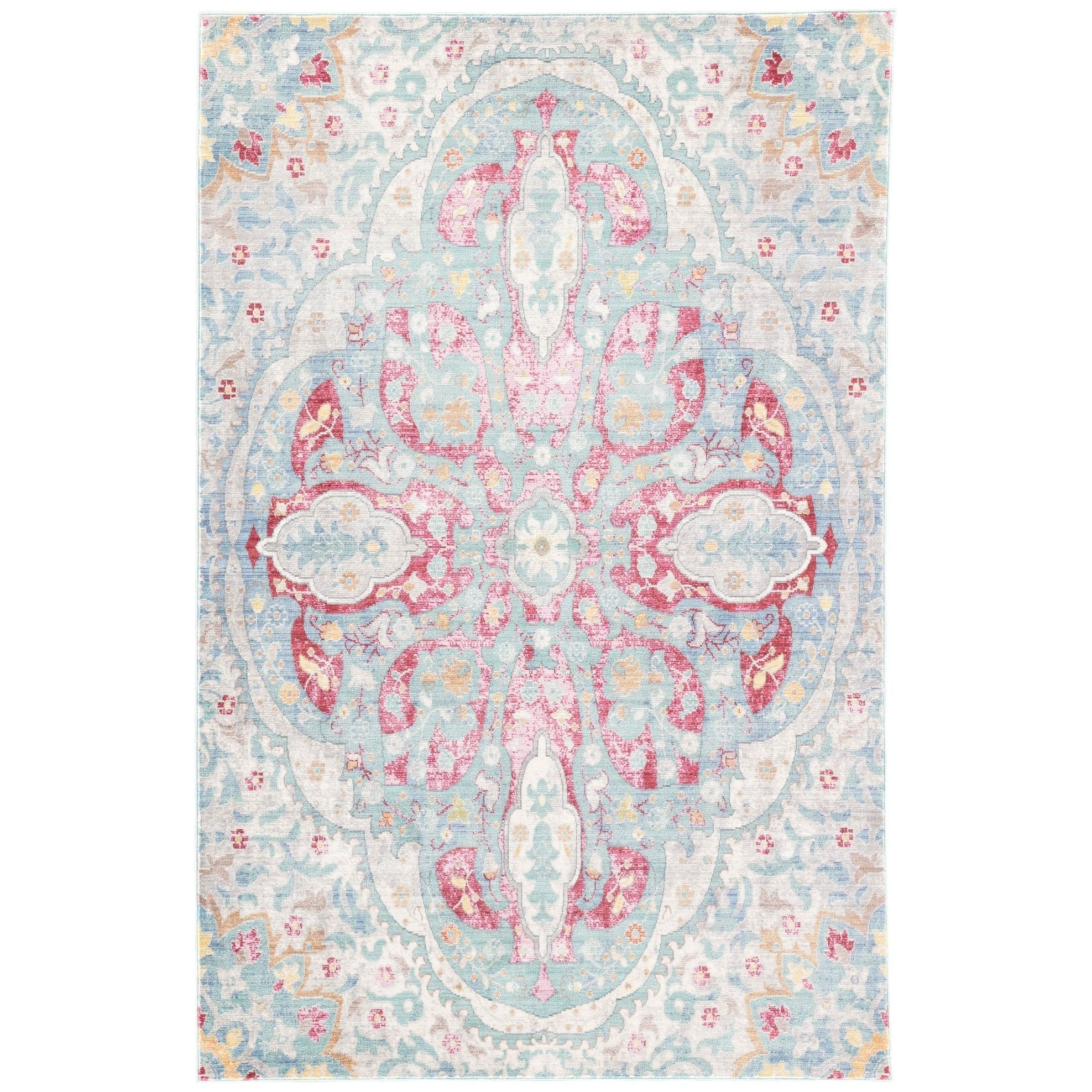 Valentine Medallion Light Blue Pink Area Rug 10 X 14 10 X 14 Juniper Home Pink Area Rug Area Rugs Contemporary Area Rugs
