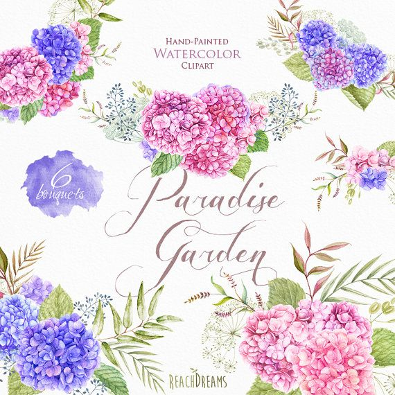 Wedding Watercolor Bouquets, Hydrangea flowers, Hand painted clipart, floral invitations, greeting card, digital printable png