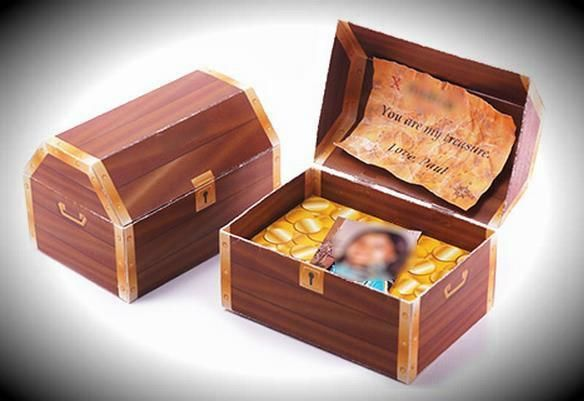 Romantic Treasure Chest Paper Model - by Romanticraft  - == -  A beautiful Treasure Chest paper model to give to someone special. Open the PDF file and edit the name and the message the way you want. Then just print, assemble and give to that special person.