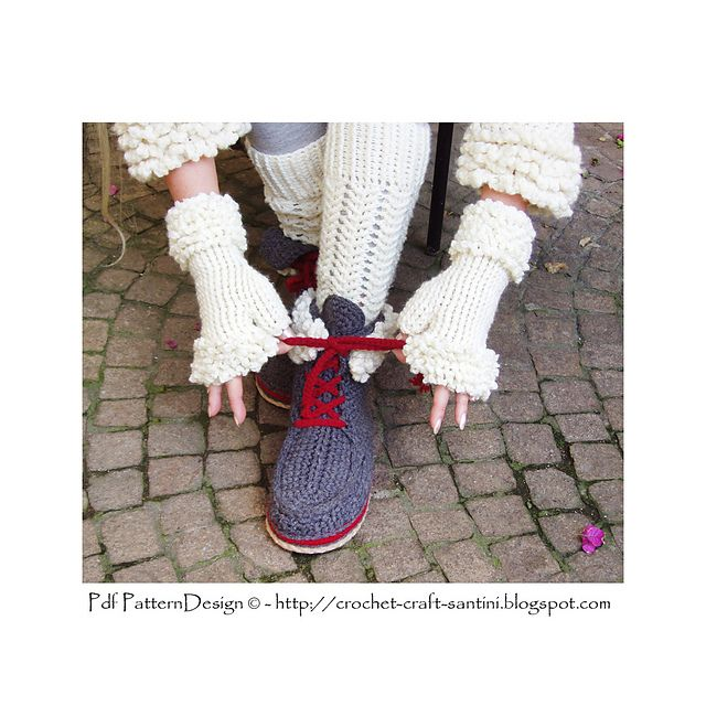 Ravelry: Winter White Fingerless Fur Gloves. Crochet pattern by Ingunn Santini
