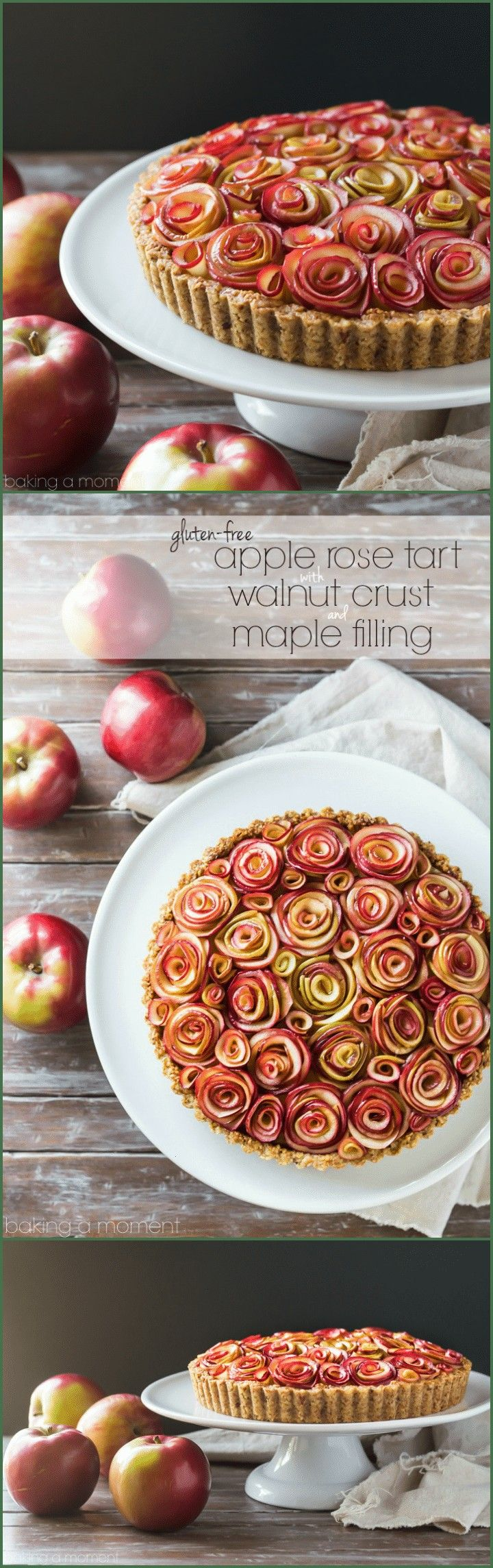 guests will be wowed by this gorgeous apple tart of roses with a toasty walnut crust and a silky sweet maple custard filling And its glutenfreeYour guests will be wowed b...