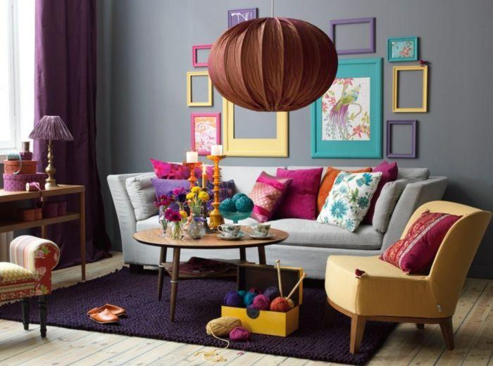 wohnideen wohnzimmer graue wandfarbe erfrischt durch bunte - wohnzimmer grau magenta