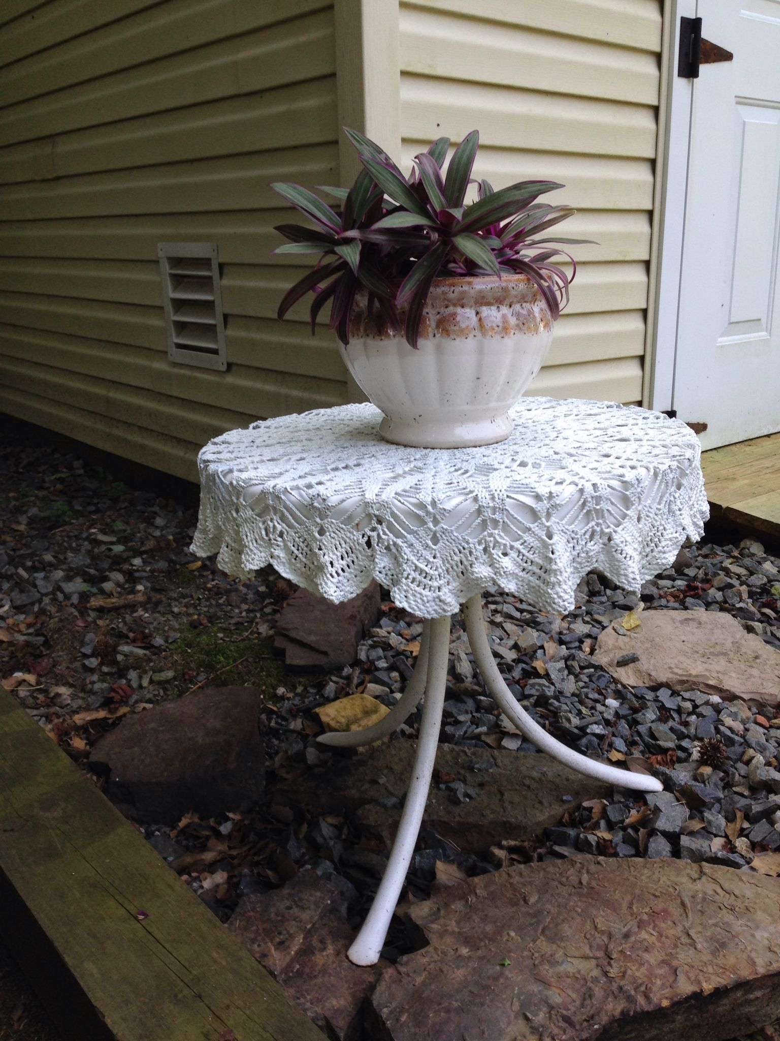 Crochet Lace Tablecloth Dipped In Cement Crochet