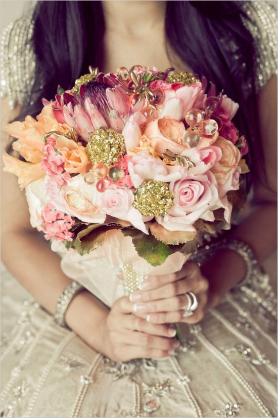 Bollywood Wedding Inspiration in Pink and Gold | Bridal bouquets ...