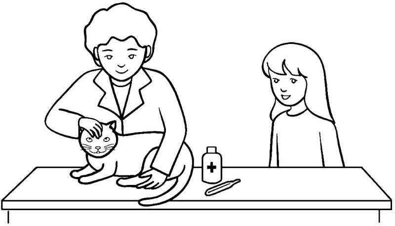 Veterinarian Checking Health Cat Coloring Page Cat Coloring Page Coloring Pages Clip Art