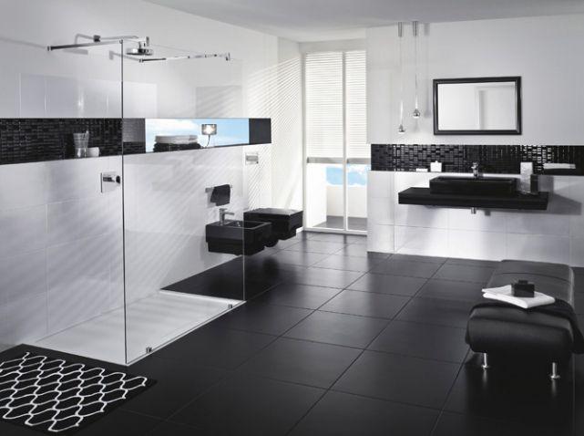 Carrelage salle de bain noir et blanc - duo intemporel très classe - image carrelage salle de bain