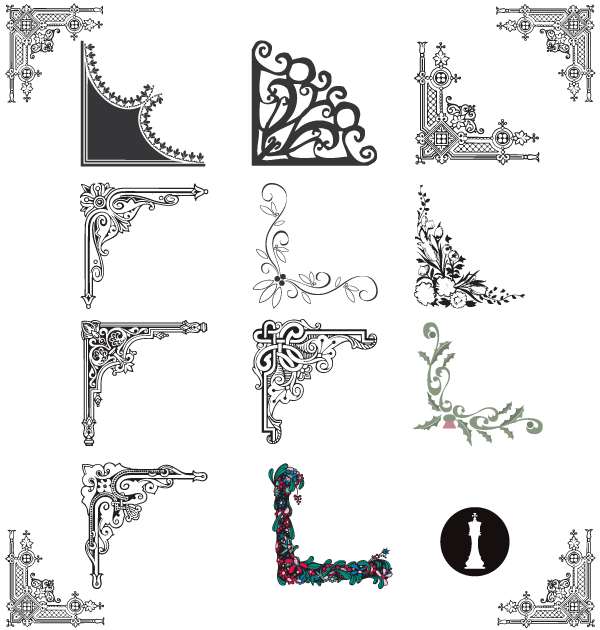 Flower Corner Border Designs Vector Free | Creativity | Pinterest ...