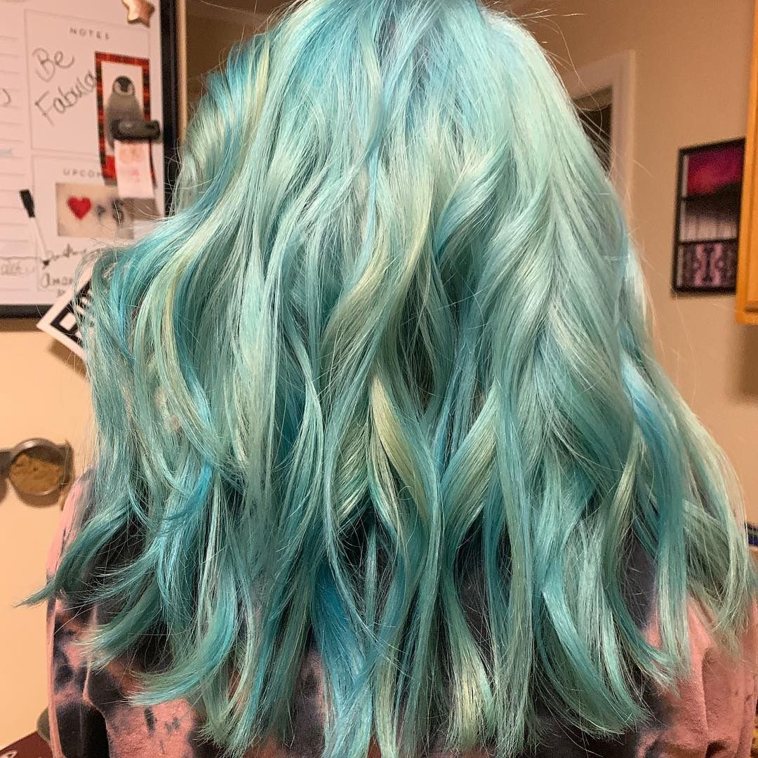 Icy Light Blue Raspberry Hair Prelightened Using Schwarzkopf