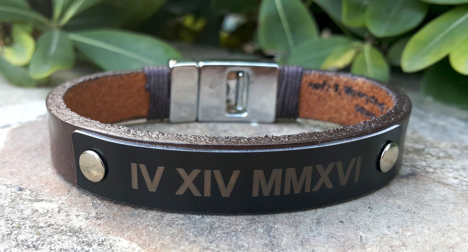 Personalized Mens Leather Bracelet Roman Numeral Memorial Actual Handwriting Handwritten Jewelry