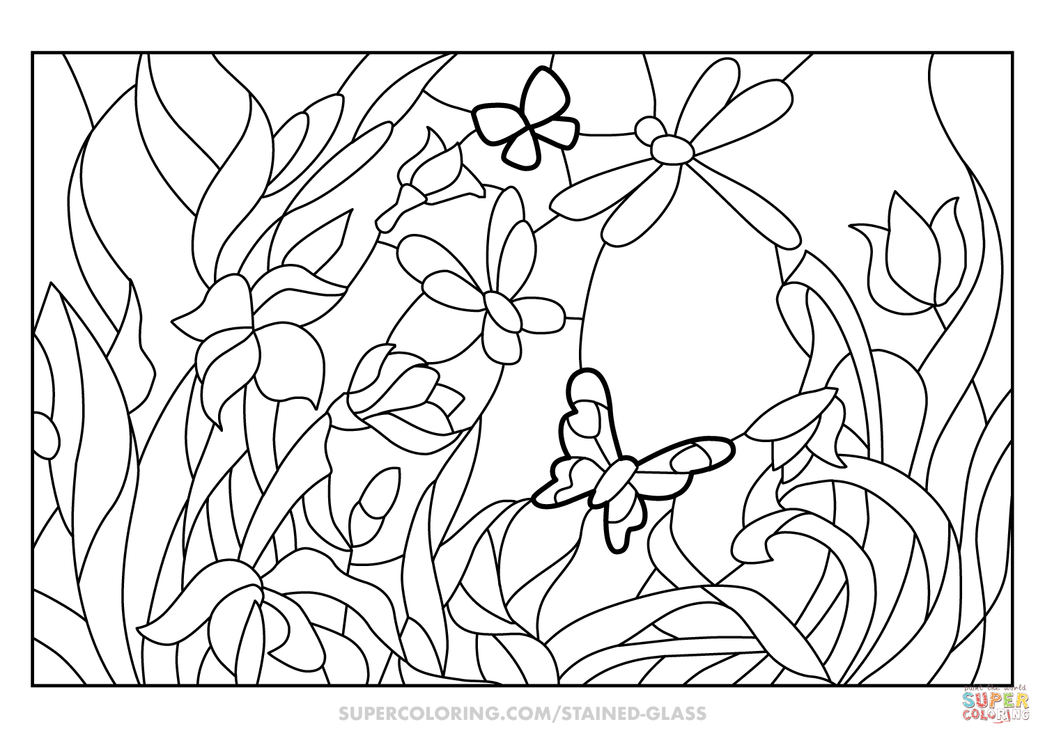 Flower Garden Stained Glass coloring page  Free Printable