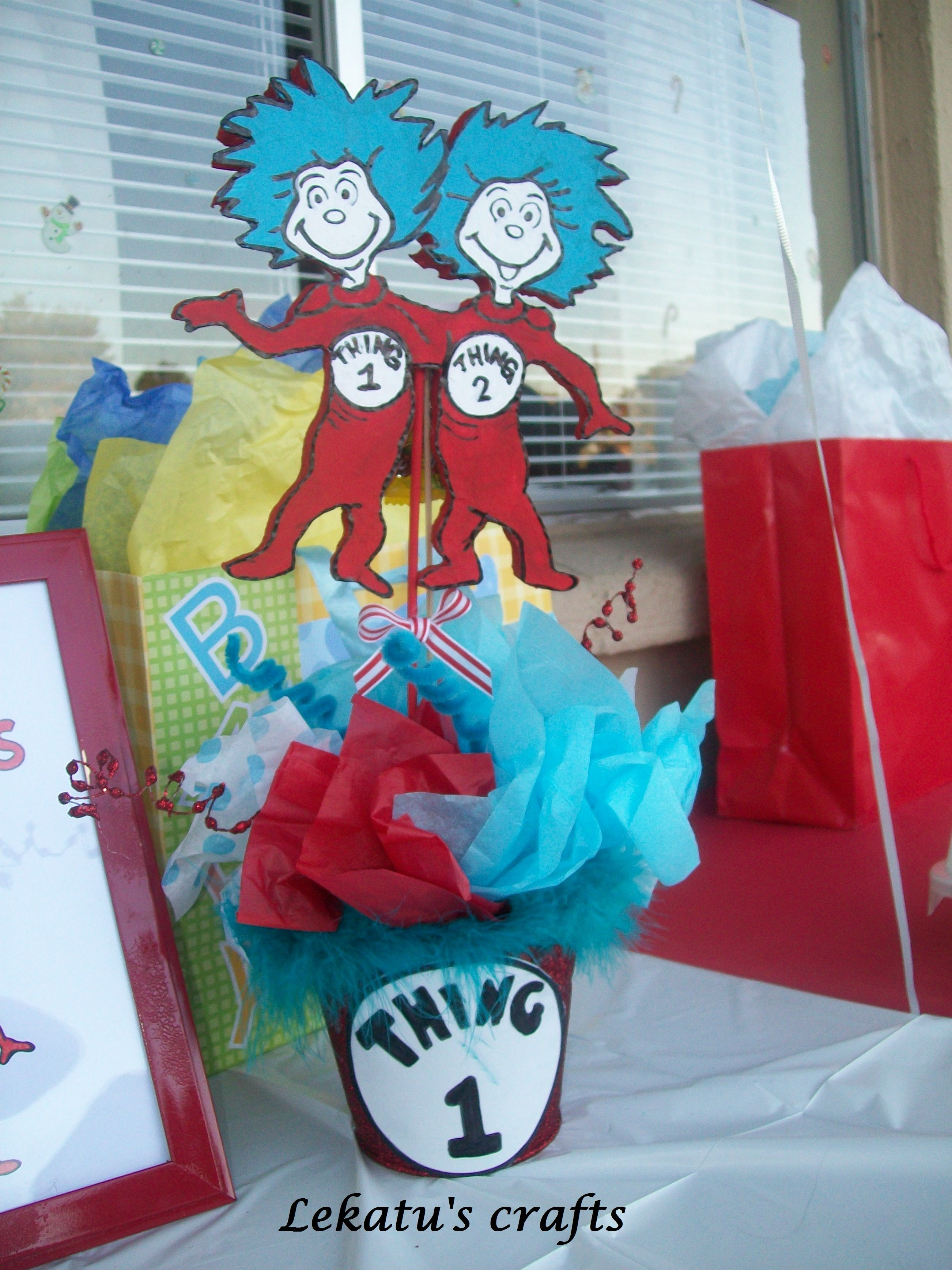 Thing 1 and Thing 2 Baby shower Centerpiece