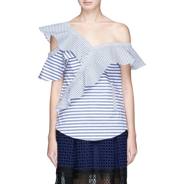 430ea65686dc Self-Portrait Asymmetric frill stripe one-shoulder top (8.290 CZK) ❤ liked  on Polyvore featuring tops, blue, blue striped shirt, blue top, button  shirt, ...