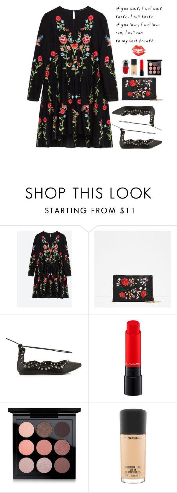 """Zara's little flowered dress"" by mockingjayafire ❤ liked on Polyvore featuring Verali, MAC Cosmetics, La Petite Robe di Chiara Boni, dress, zara, REDLIP, lowcost and mockingjayafire"