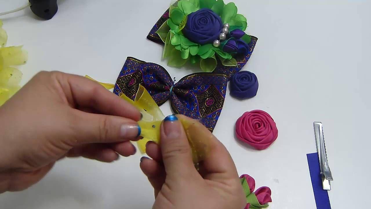 Como elaborar  Clips con Moños, pétalos Kanzashi, Botón de Rosa ideal pa...
