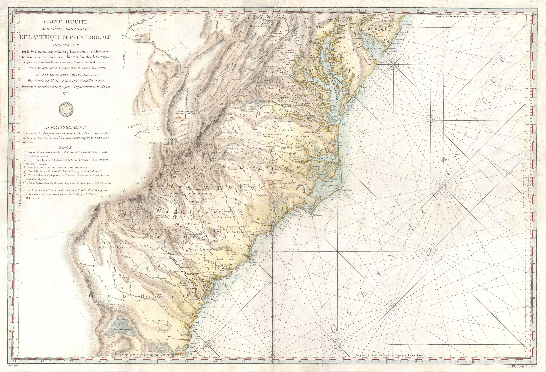 1778 Sartine Map Of Georgia North Carolina South Carolina
