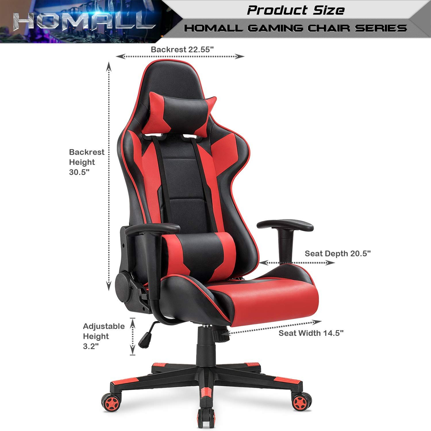 Amazon Com Homall Gaming Office Chair Computer Desk Chair Racing Style High Back Pu Leather Chair Executive And Ergon Desk Chair Pu Leather Chair Leather Desk