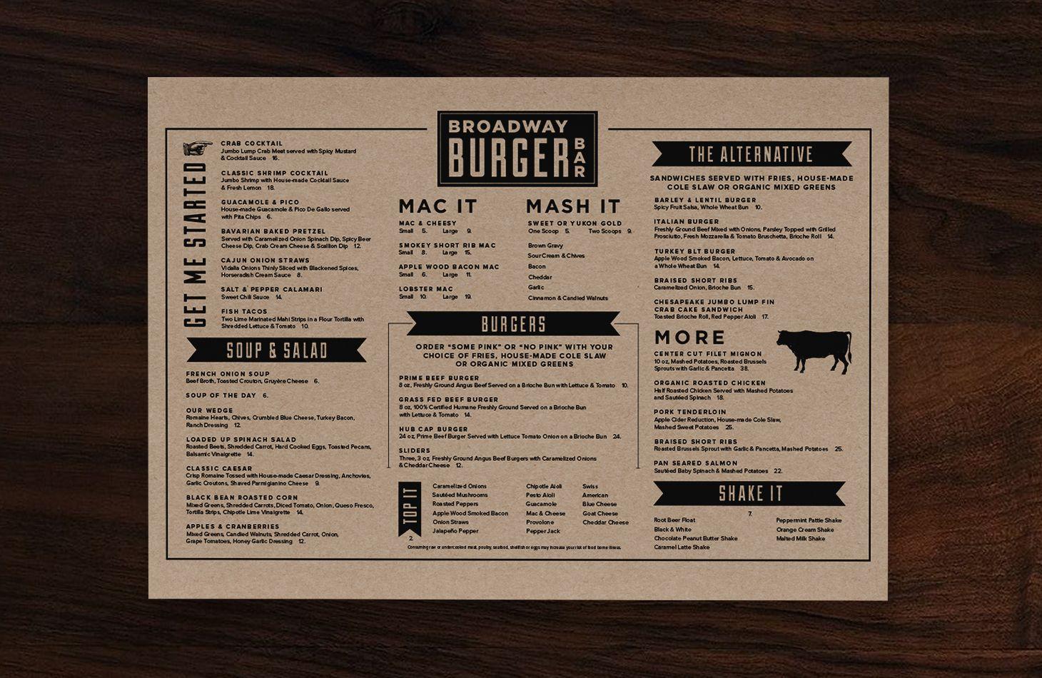 Cool Restaurant Menu Design Broadway Burger Bar Dinner Menu 3 Jpg