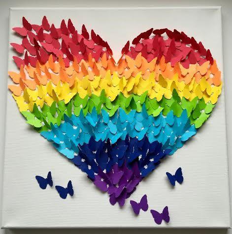 Papillon 3D Wall Art, arc en ciel Ombre classique papillon coeur - faire une maison en 3d