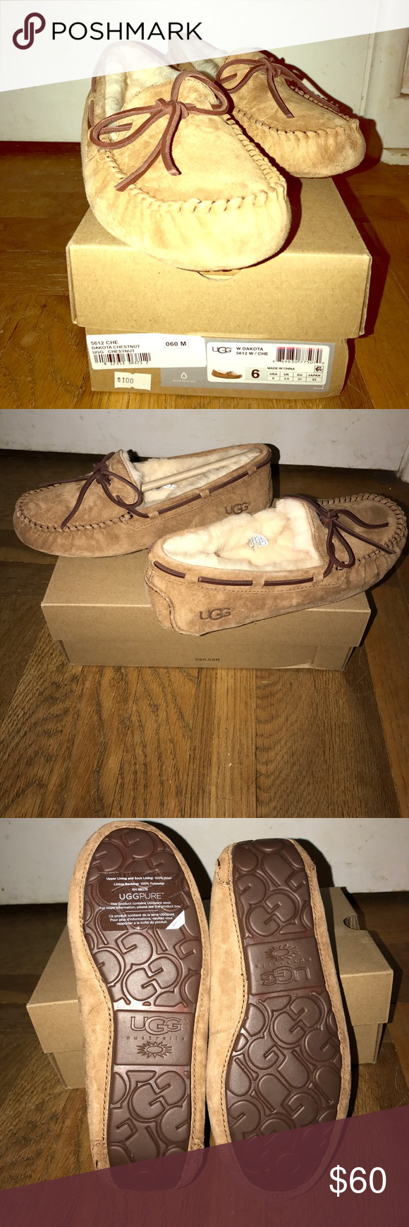 NWIB AUTHENTIC UGG DAKOTA 💕❤ Brand spanking new in box! Authentic UGG Dakota slippers in Chestnut size 6! I have these in three different colors personally and love them. I just don't need these and don't like returning items lol. My loss your gain! Super comfy! Included authenticity label which is only found in the left shoe of real uggs! ❤ UGG Shoes Moccasins