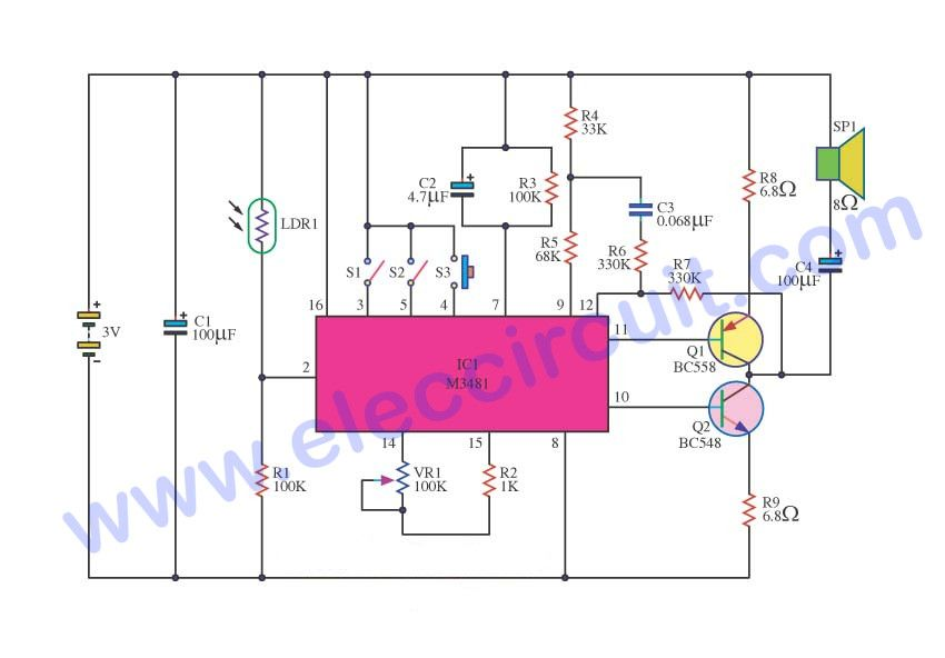 three music box circuit ideals electronic projects circuits rh pinterest com Memory IC Product Product Communication IC