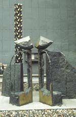 'Articulated Opposites' by Raymond Arnatt, 1969, is an abstract  work designed as a memorial to Sir Joseph Swan.