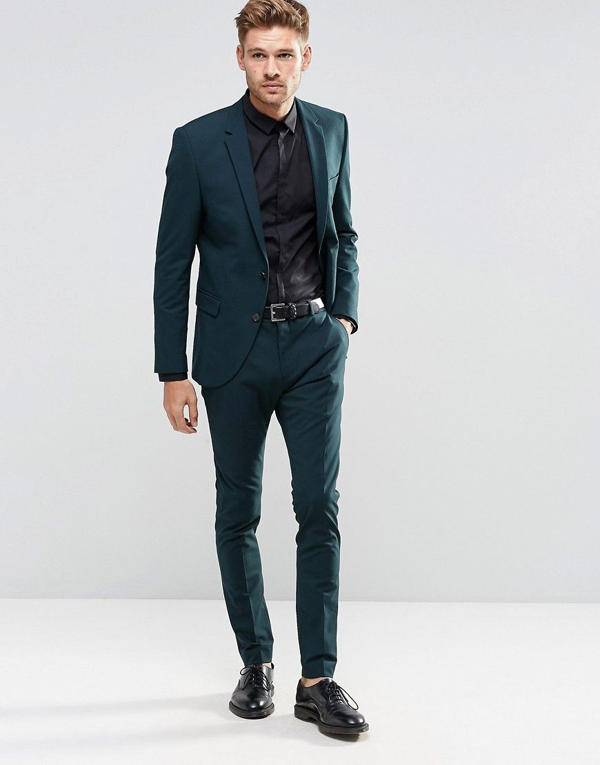 image 1 of selected homme bottle green suit in superskinny fit with