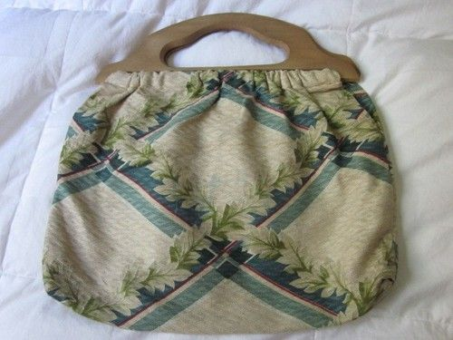 1940 S Floral Barkcloth Wooden Handle Knitting Bag Knitted Bags Knitting Tote Bag Vintage Knitting