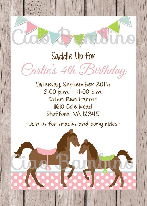 PRINTABLE Personalized Horse Birthday Party By Ciaobambino 1200