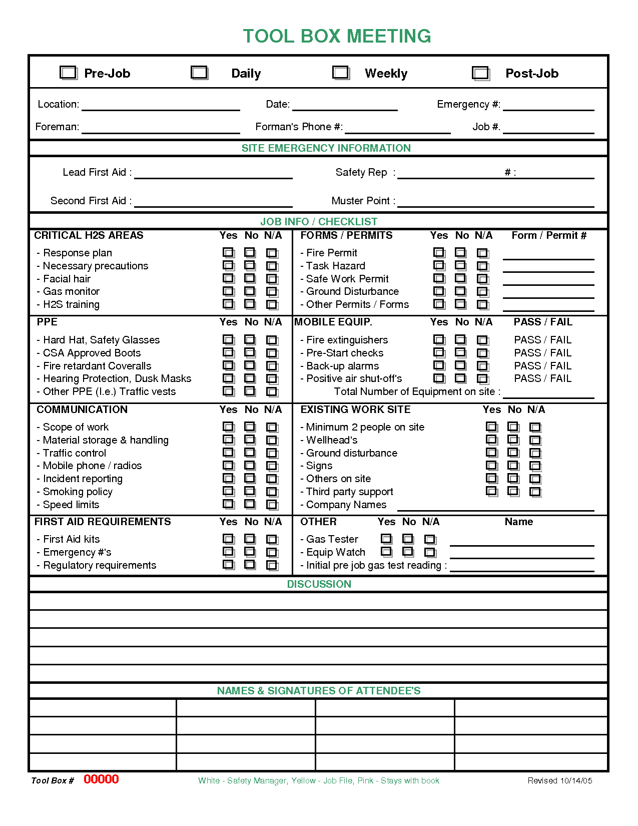 meeting checklist template images | Toolbox Meeting | Procedure ...