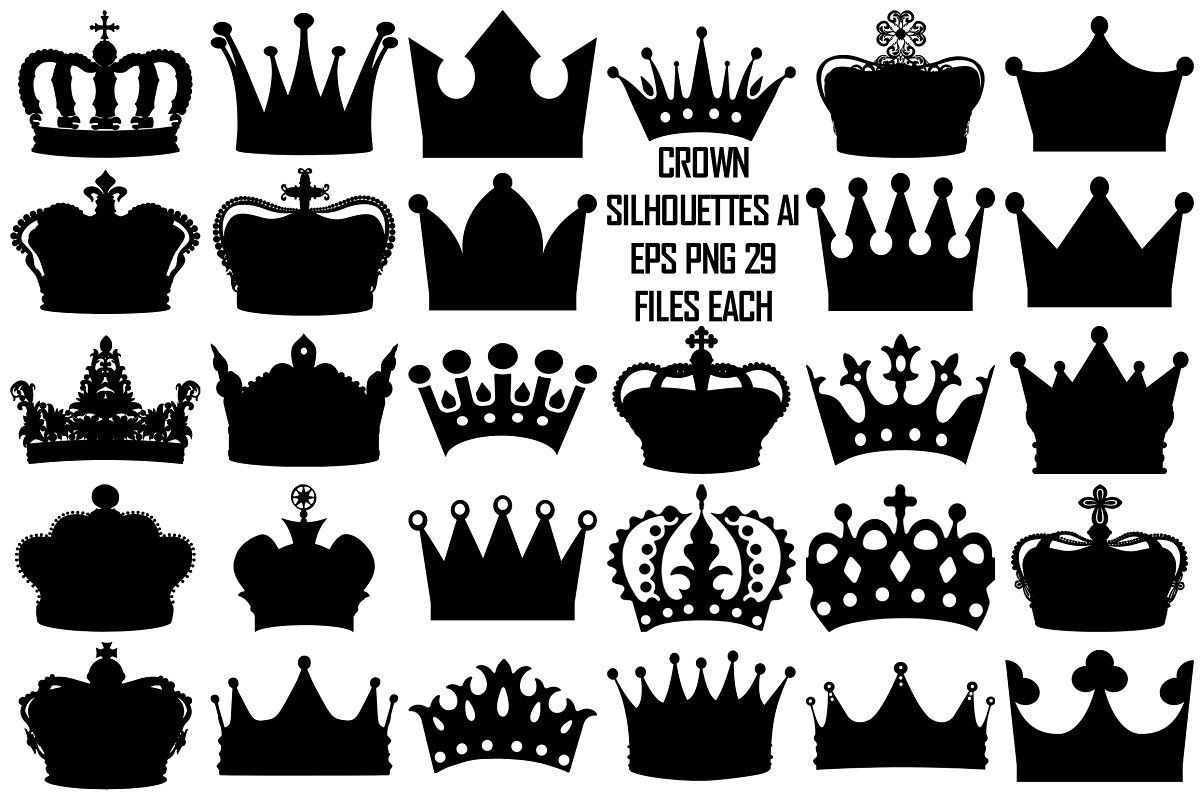 Black Crown Silhouettes Ai Eps Png Crown Silhouette African Crown Lotus Tattoo Design