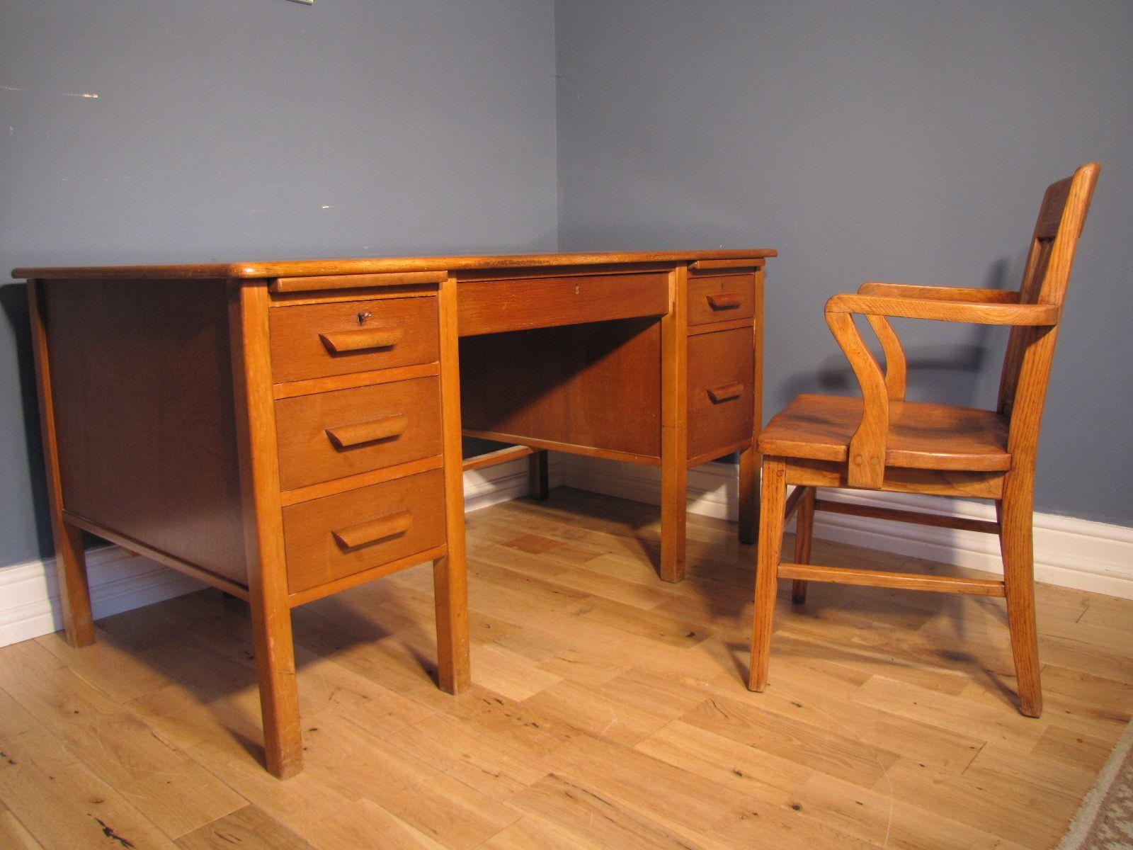 Oak Twin Pedestal School Teachers Desk