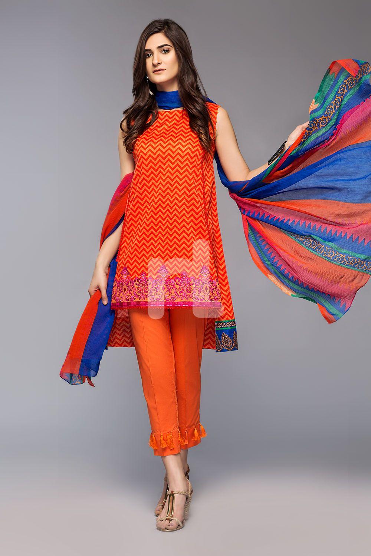 38dbc28244 Nishat Linen Unstitched Eid Collection 2018 41800490-Blended Krinckle  Chiffon - Orange Embroidered 3PC