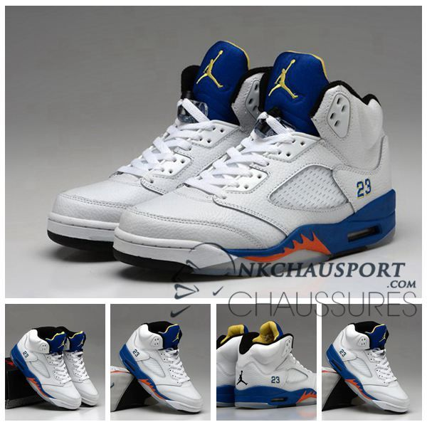 Nike Air Jordan 5 Classique Chaussure De Basket Homme Blanche Bleu