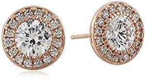 Amazon.com: Rose-Gold-Plated Sterling Silver Swarovski Zirconia Round-Cut Halo Stud Earrings: Jewelry