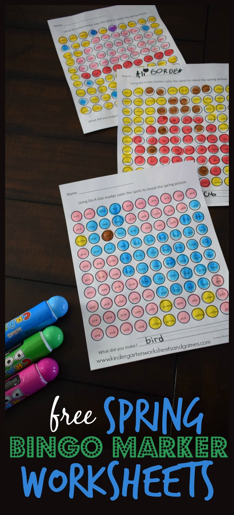 Free Spring Bingo Marker Worksheets These Preschool Kindergarten And First Grade Work Bingo Marker Worksheets Printable Activities For Kids Learning Colors Can you use bingo markers to write on