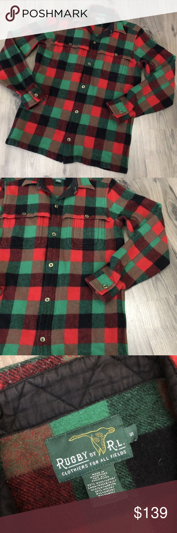 Rugby R L Plaid Flannel Jacket Small Ralph Lauren Preowned Rugby R L Plaid Button Front Flannel Jacket Made For Europea Flannel Jacket Plaid Flannel Flannel