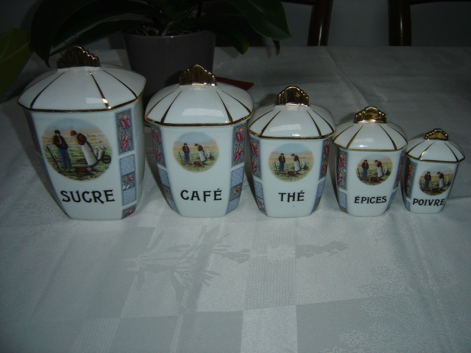 porcelaine de limoges lot de 5 pots a pices sucre cafe. Black Bedroom Furniture Sets. Home Design Ideas
