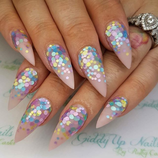 Almond Shaped Pink Nails With Confetti Glitter Design Fun By Giddyupnails Ugly Duckling Page Is Dedicated To Promoting Quality