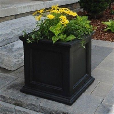 20 Inch Square Patio Planter Box In Black Made Usa