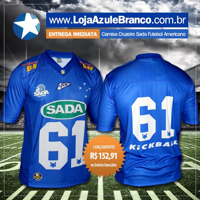 366b25a099 Pronta Entrega Camisa de Futebol Americano Sada Cruzeiro. Saiba mais em   www.LojaAzuleBranco