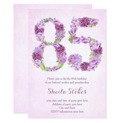 Lady 85th Birthday Invitations Lavender Invites