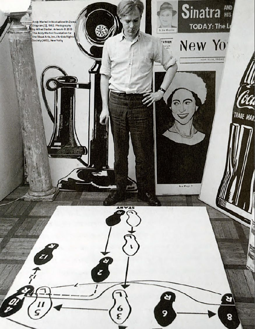 andy warhol in his studio with dance diagram 2 1962 photography by alfred statler  [ 875 x 1129 Pixel ]