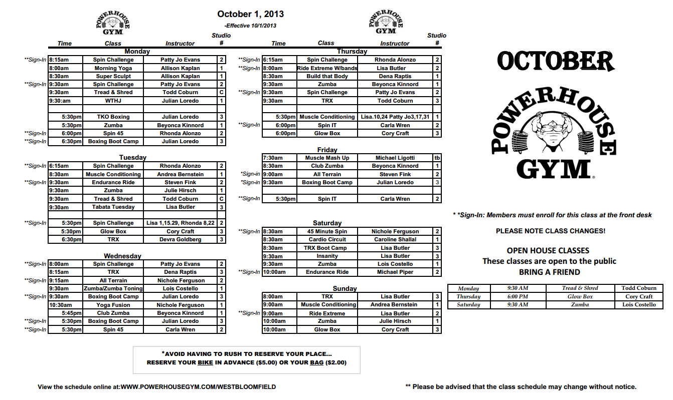 October Powerhouse Gym Class Schedule! Come get your