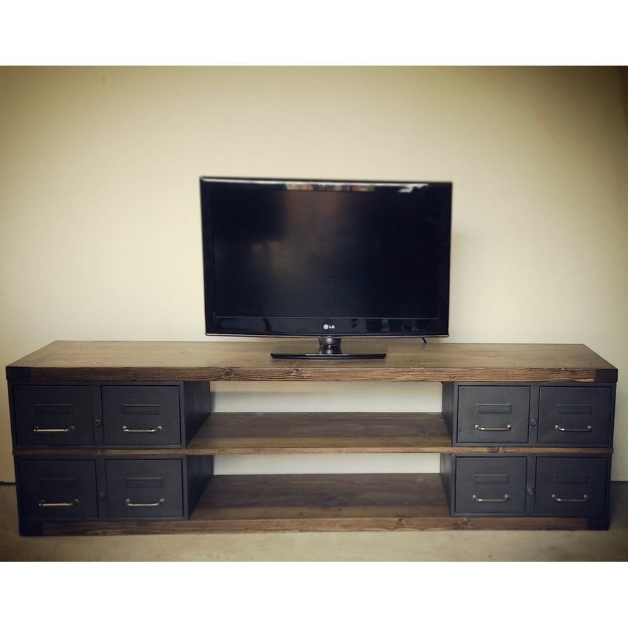 meuble tv sur mesure en acier et bois style industriel. Black Bedroom Furniture Sets. Home Design Ideas